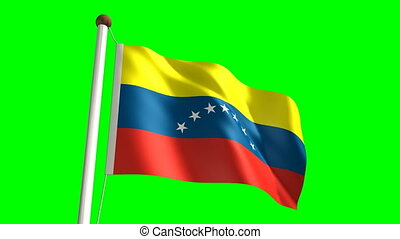 Venezuela flag (Loop & green screen - 3D Venezuela flag...