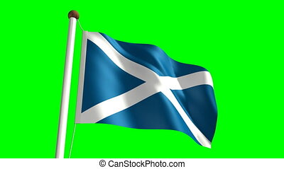 Scotland flag Loop and green screen - 3D Scotland flag video...