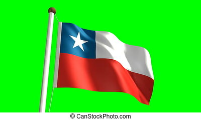 Chile flag Loop and green screen - 3D Chile flag video...