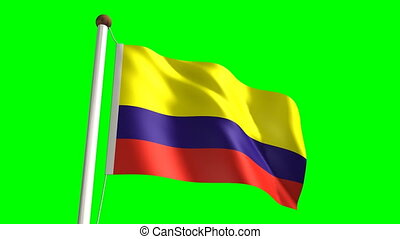 Colombia flag (Loop & green screen) - 3D Colombia flag video...