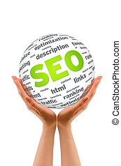 Hands holding a SEO Sphere sign on white background.