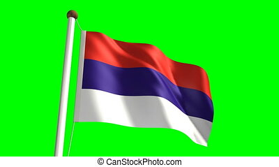 Serbia flag Loop and green screen - 3D Serbia flag video...