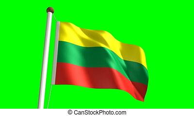 Lithuania flag (Loop & green screen - 3D Lithuania flag...