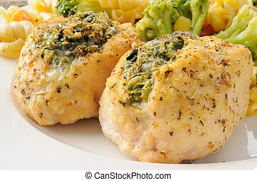 Chicken breasts stuffed with spinach florentine - Close up...