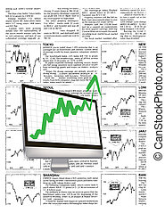 financial growth, with fake financial news background
