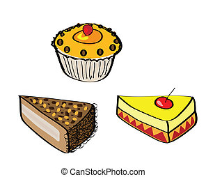 doodle of cakes or desserts - doodle illustrations of cakes...