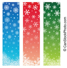 christmas banners with fading snowflakes, 3 colors. standard...