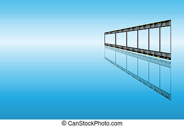 blue background with filmstrip