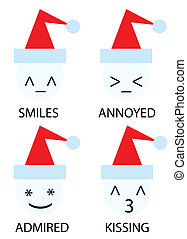 christmas icons of snowman as emoticons smiley