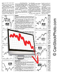 monitor with downward stock index
