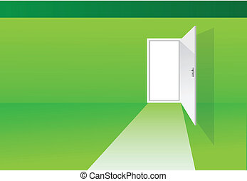 green room with door