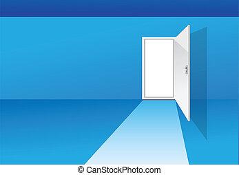 blue room with door
