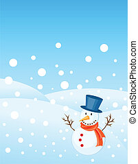 christmas greetings card - snowman illustrations for...