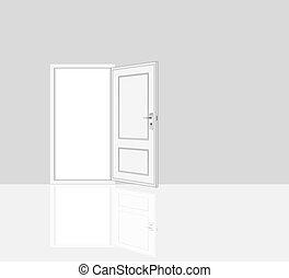 opened door, room interiors