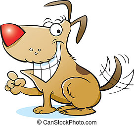 Vector - Happy Dog - Vector illustration of smiling cartoon...