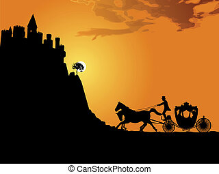 Carriage at sunset - Silhouette of a horse-drawn carriage...
