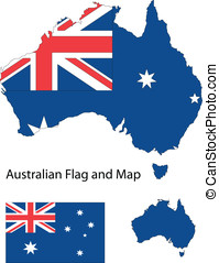 Australian map and flag - Outline shape of Australia filled...