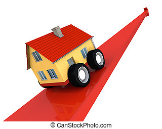 House climbing upwards - House on wheels going upwards on a...