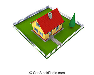 Family house with yard - Small family house with red roof...