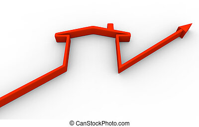 Growth trend line with symbol of a house