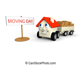 Moving house - Happy little house on wheels is its moving...
