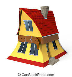 Squeezed house - House getting squeezed with tight belt