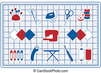 Quilt, Patchwork, Sewing Icons, Mat - Tools and supplies...