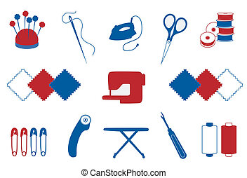 Quilting, Patchwork, Sewing Icons - Tools and supplies for...