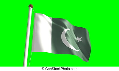 Pakistan flag Loop and green screen - 3D Pakistan flag video...