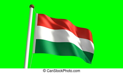 Hungary flag Loop and green screen - 3D Hungary flag video...
