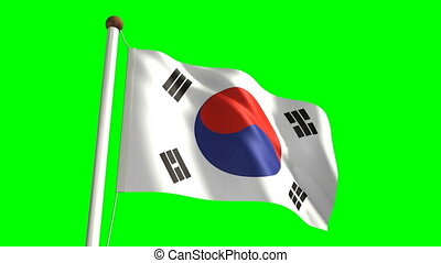 South Korea flag (Loop & green scre - 3D South Korea flag...