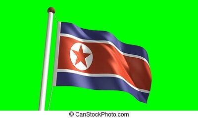 North Korea flag Loop and green scre - 3D North Korea flag...