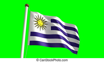 Uruguay flag Loop and green screen - 3D Uruguay flag video...