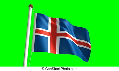 Iceland flag Loop and green screen - 3D Iceland flag video...