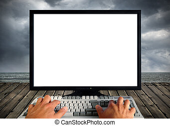 Blank computer monitor - Conceptual image of a empty white...
