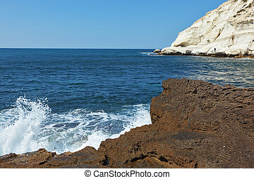 White rocks and grottoes Rosh-a-Nikra - Picturesque sea...