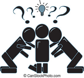 People Brainstorming - drawing of simple figures with their...