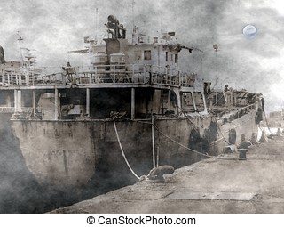 Ghost Ship - A spooky scene of an old dilapidated ship...