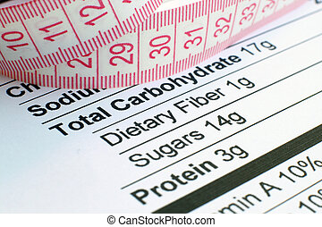 Nutrition facts and measure tape