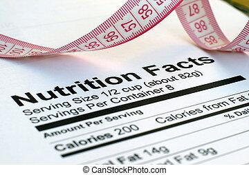 nutrição, fatos, medida, fita