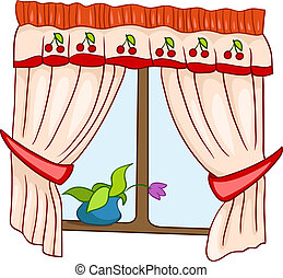 Cartoon Home Window Isolated on White Background. Vector.