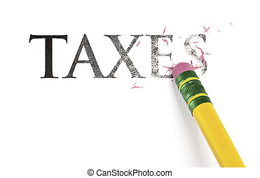 Erasing Taxes - Close up of a yellow pencil erasing the...
