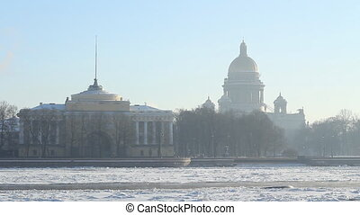 St Petersburg, The Admiralty building and Isaac Cathedral in...