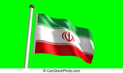 Iran flag with green screen - 3D Iran flag video seamless...