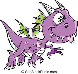 Crazy Purple Dragon Vector