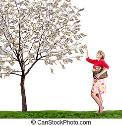 a woman reaching up picking money off a tree on white...