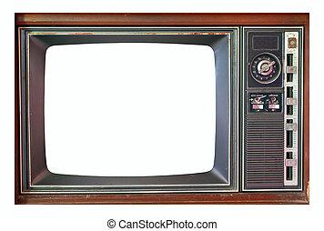 televisão, jogo, isolado, branca,  retro
