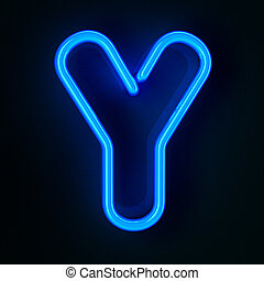 Neon Sign Letter Y - Highly detailed neon sign with the...