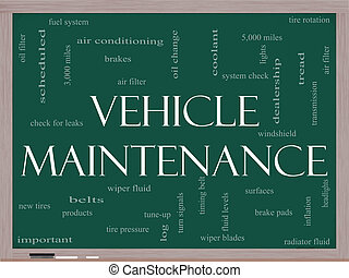 Vehicle Maintenance Word Cloud Concept on a Blackboard -...