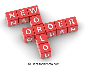 Buzzwords: new world order - rendered artwork with white...